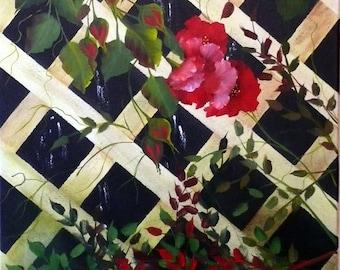 Lattice Blaze; 18x24; Oil and Acrylic on Canvas