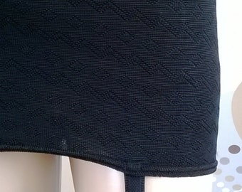 Vintage Girdle 1960's Black Roll On Girdle With Four Garters Open Bottom Vintage Lingerie 60's Shapewear Size Small