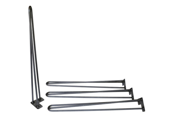 "28"" Hairpin Legs (Raw Steel, Three-Rod) - Set of 4 Table Legs - Mid Century Modern - Industrial Strength"