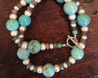 Turquoise and Fresh Water Pearl Necklace with Labradorite.
