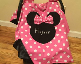 Personalized Minnie Mouse car seat canopy, carseat canopy girl, minnie mouse canopy cover, minnie mouse fabric, minnie mouse fabric