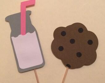 Set of 12 Milk & Cookies Cupcake Toppers