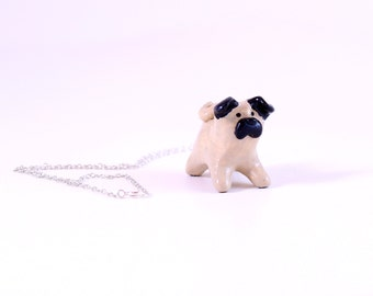 Whimsical Pug Dog Necklace in Tan and Black: Modern Animal Totem Perfect For Mothers Day, Dog Lover, Christmas, or Girlfriend Gift Under 50