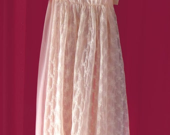 1950s Vintage Embroidered Grecian-Style Nylon Nightgown