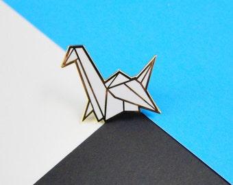 origami paper crane enamel pin
