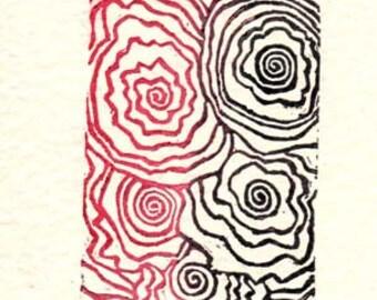 Linocut Art Card - A Little Crazy