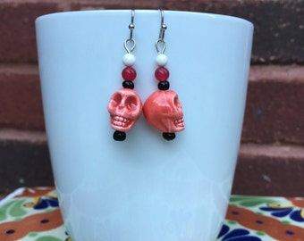 Red skull earrings