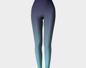 Ombre Leggings, Blue Leggings, Printed Leggings, Turquoise Leggings, Workout Leggings, Navy Leggings, Gradient Leggings, Fashion Leggings