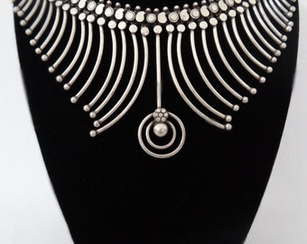 Vintage Oxidized Silver Decorative Necklace