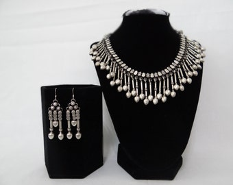 Vintage Oxidized Silver Dangling Beads Jewelry Set
