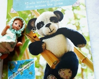 2012 Laura Long Knitted Toy Travels Softcover Knitting Pattern Book New Includes Big Map in Back ! First Edition