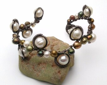 Hand wrapped Freshwater Pearl cuff