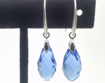 Silver briolette earrings. Light blue briolette earrings