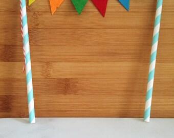 Multicolored Flag Straw Cupcake Topper