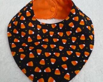Halloween - Candy Corn - Baby - Bandana - Bib - Waterproof - Orange - Black - Cotton - Boy - Girl - Holiday - Bibdana