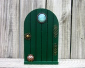 Green Fairy Door, Painted Wood, Indoor Fairy Door, Pretend Play, Miniature Door, Fairy Play, Fairies, Magical Door, Childrens Gift