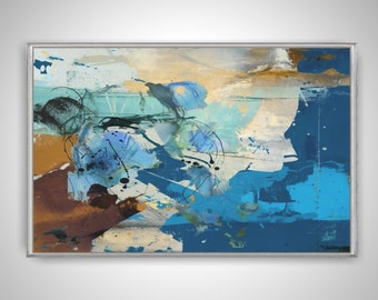 Large Handmade Horizontal Abstract Acrylic Painting on Canvas. Hand Painted Modern Contemporary Art. Blue, Brown and White Painting.