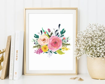 floral wall art print floral nursery print Flower Print Gallery Wall Prints  Rustic Decor watercolor flowers Dorm Decor Nursery Decor boho
