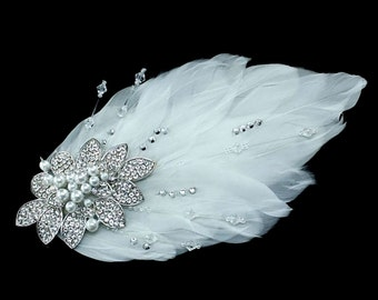 Wedding comb feathers, pearls and Crystal