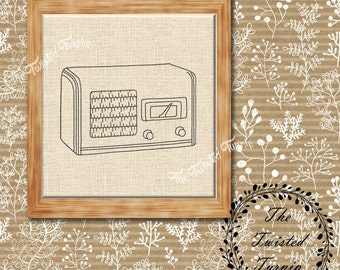 Antique Vintage Wooden Radio Machine Embroidery Design Wall Art Original Digital File Instant Download 4x4 ITH Project Redwork Blackwork