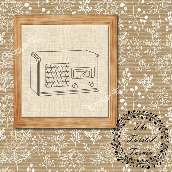 Antique Vintage Wooden Radio Machine Embroidery Design Wall Art Original Digital File Instant Download 4x4 ITH Project Redwork Blackwork