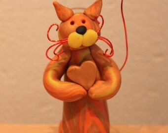 Handcrafted Orange Sculpted Standing Cat Polymer Clay Bud Vase Pen Holder