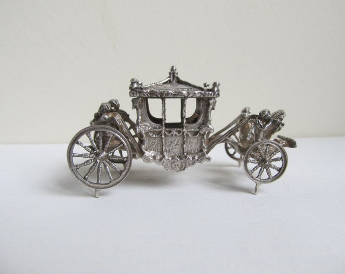 Sterling silver carriage, Solid silver miniature Queens corronation coach, Vintage hallmarked collectible English carriage, Bham 1977