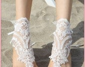 Free Ship / White beach barefoot sandals - Lace Shoes for wedding or vacation