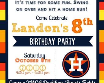 Houston Astros Baseball Birthday Invitation & Matching Thank You Card