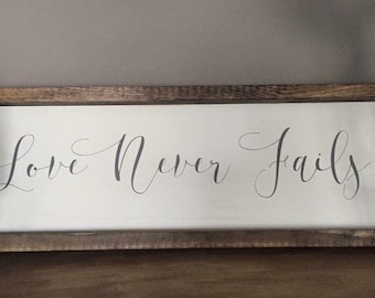 Love Never Fails Framed Wood Sign Decor