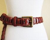 Vintage Brown Woven Leather Belt 90s 80s Unisex Accessory Southwestern Leather Woven Belt Size Medium