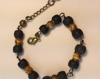 Bracelet, Picture jasper, Black onyx, Antique gold, Jewelry, Gift, B0816
