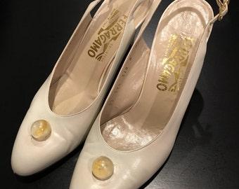 Salvatore Ferragamo Creme Slingback Heels