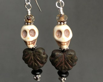Small Skull Maple Leaf Earrings