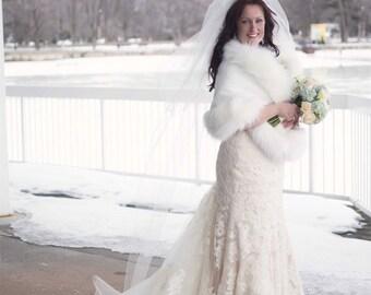 Ivory White faux fur bridal wrap, Wedding Fur shrug, White Fur Wrap, Bridal Faux FurStoleFur Shawl Cape,wedding faux fur wrap