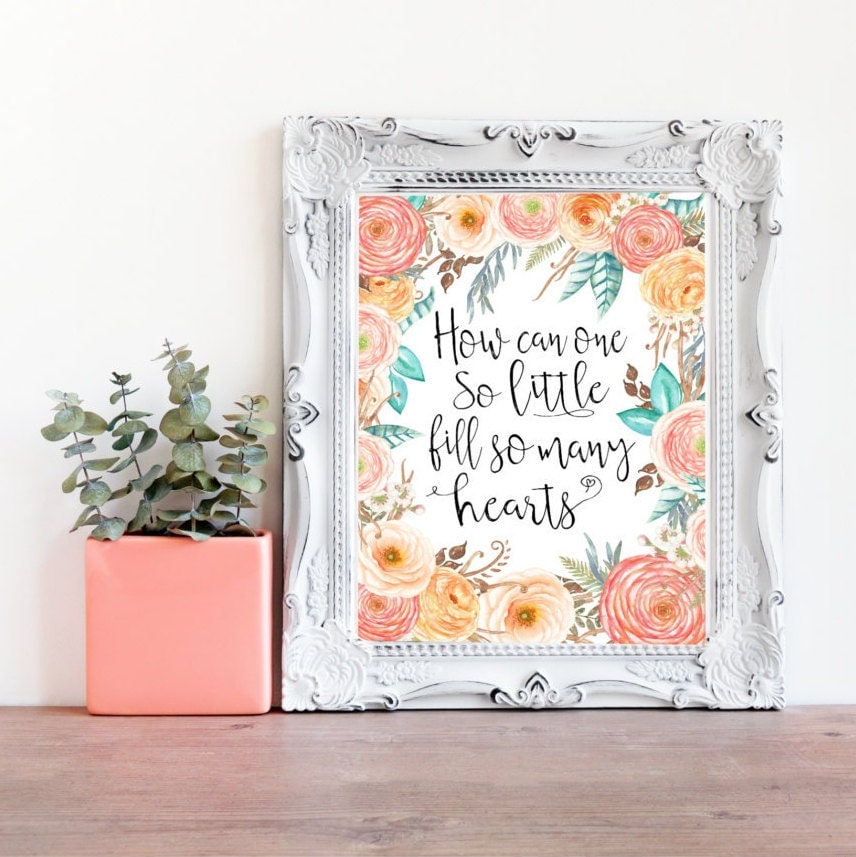 Bohemian Style Baby Nursery: Little Girls Quote Print Floral Baby Girl Decor Boho Nursery