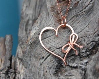Remember I Will Always Love You Necklace, Heart with Bow Handmade in Solid Copper