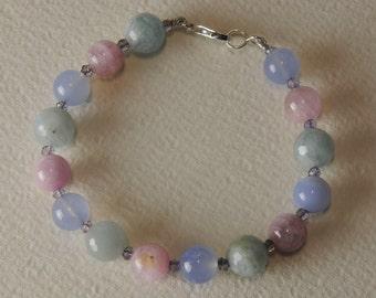 Aquamarine bracelet, Kunzite, kyanite, chalcedony and 925% Silver Clasp