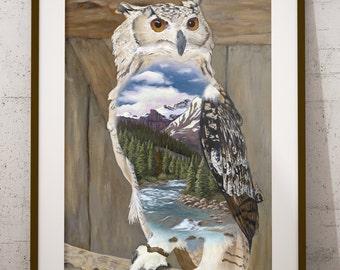 "Distant Domain 12"" x 15""  Limited Edition Print, Owl, Landscape, Wildlife, Fine Art, Giclee Print, Painting, Animal Art, Artwork"