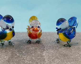 Blue Tit/Robin Glass Figurine