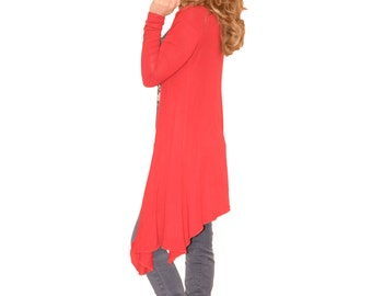 Asymmetric Oversize Loose Plus Size Boho Red Cotton Woman Cardigan With Long Sleeves