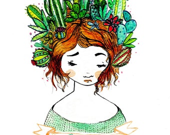 Prickly. Watercolor Print.