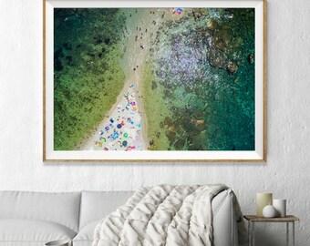 Paradise Beach Taormina, Italy Aerial Beach Photography, Large Wall Art Decor, Colour Fine Art Photography, Art Prints, Turquoise Aqua