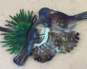 Chickadee - Snuggle Time - Wall Art- Metal Art - Home Decor - Animals - Bird - Steel Art-Yard Art-Decorations - tree