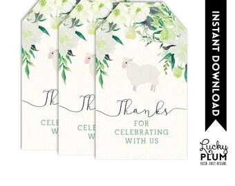 Lamb Favor Tags / Lamb Labels / Sheep Favor Tags / Woodland Favor Tags / Flower Favor Tags / Spring Favor Tags / Green Favor Tags