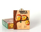 Nobodys Perfect wall hook . Nobody's Perfect owl plaque made of hand painted rocks . pet rock inspired key hook