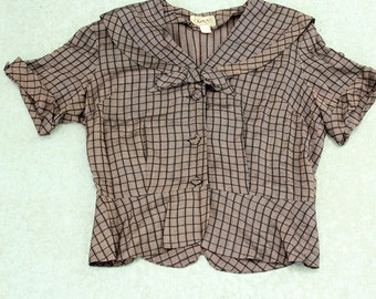 1940s black and brown blouse . 40s 50s windowpane blouse with peplum by Atlas Model . fitted blouse, medium large