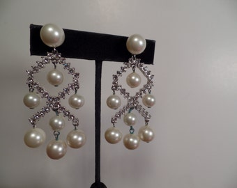 Long Dangle Earrings with Faux Pearls and Rhinestones Signed Marvella-1960's
