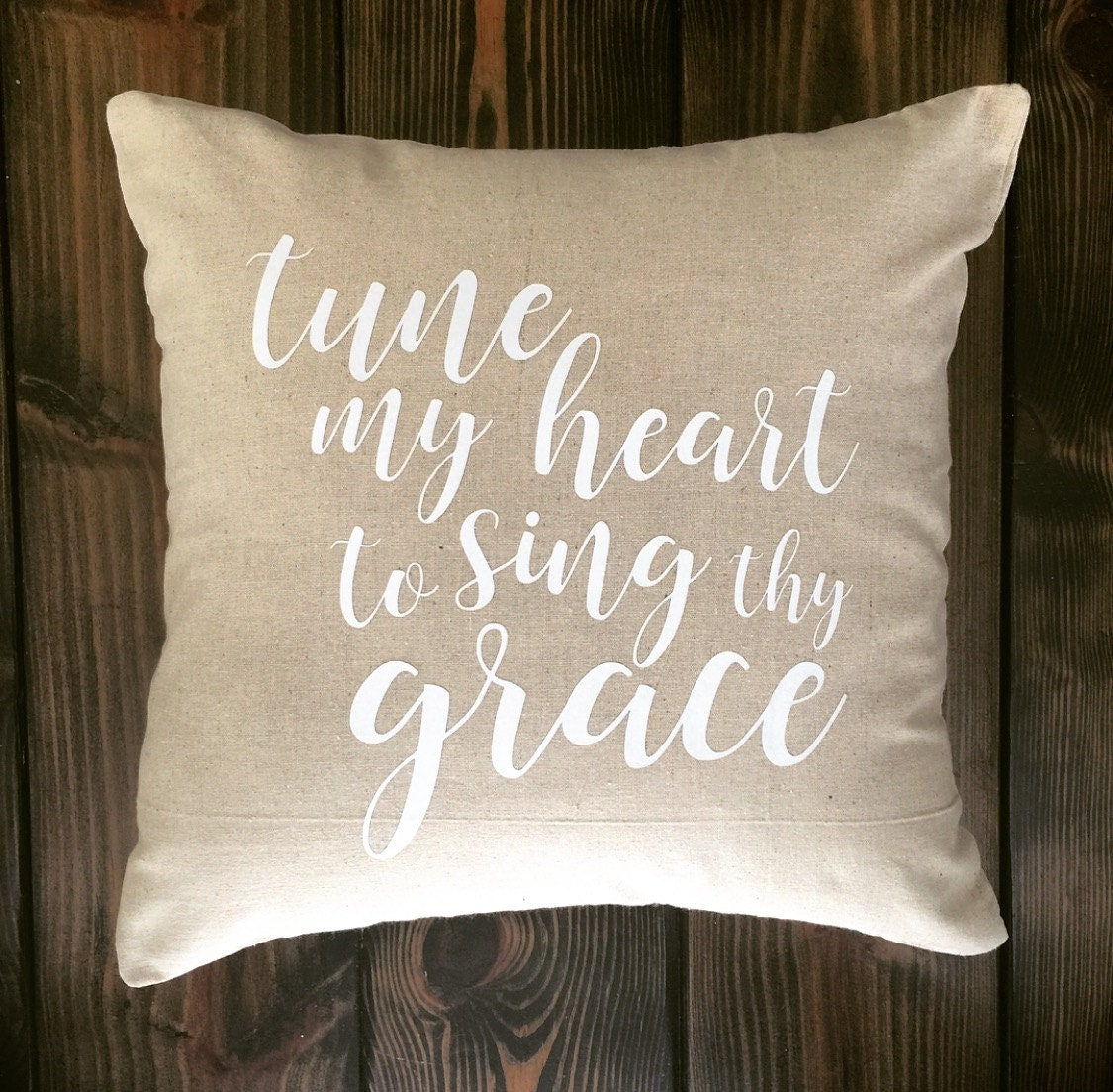Free Shipping Hymns Pillow Cover, Pillow Case, 18x18, Cotton, Natural, Farmhouse, Shabby Chic, Cottage