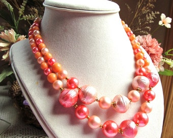 Vintage Two Strand Acrylic Necklace in Pink, Peach and Coral Colors 16 Inches